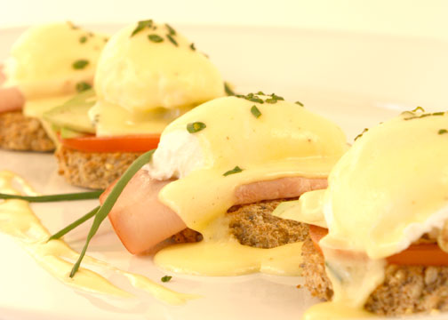 Eggs Benedict whole wheat bread photo