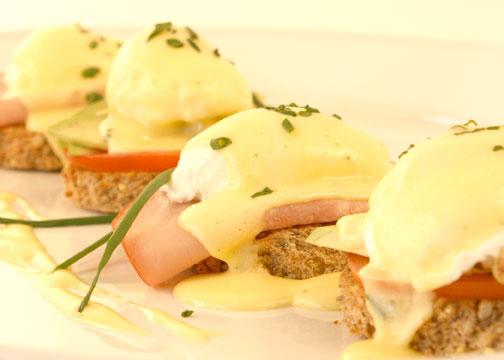 Eggs Benedict whole wheat bread photo