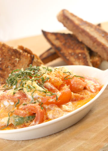 Tomato Basil Goat Cheese Sauté with Grilled Great Harvest Bread