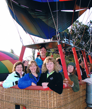 bakery owners in hot air balloon