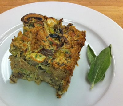 Whole Grain Bread Pudding Recipe with Fennel, Leek and Mushrooms