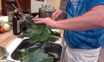 prepping kale photo