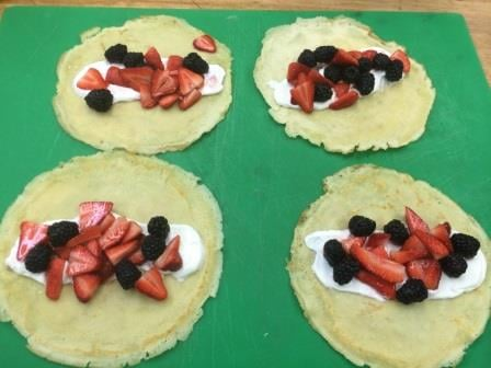 Chocolate Crepes with Greek Yogurt and Berries