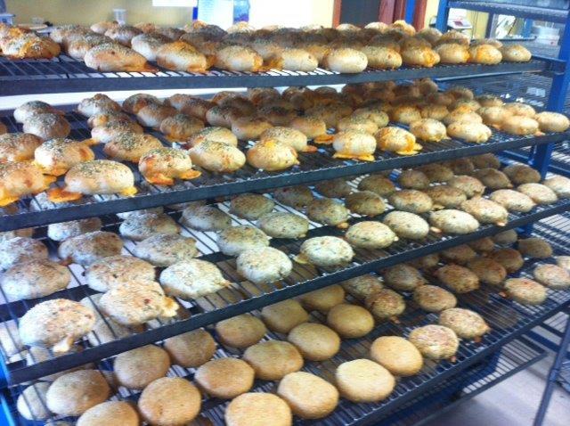 whole wheat buns on rack