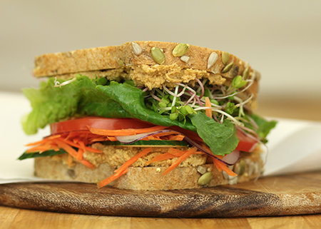 Veggie Hummus whole grain sandwich