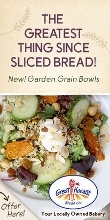 This is an image of a web ad template that says The Greatest Thing Since Sliced Bread! New! Garden Grain Bowls with an image of a salad and a Great Harvest logo too