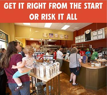a photo of a bakery cafe lobby