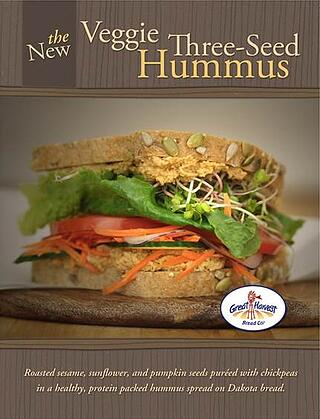 a poster of the Veggie 3-seed hummus sandwich