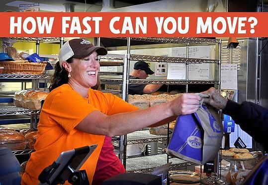 """bakery employee photo and the text """"how fast can you move?"""""""