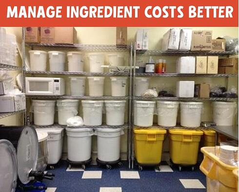 a photo of ingredients organized in a bakery back room